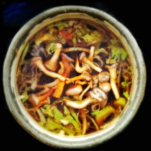 Miso Soup with Pickled Shimeji Mushrooms