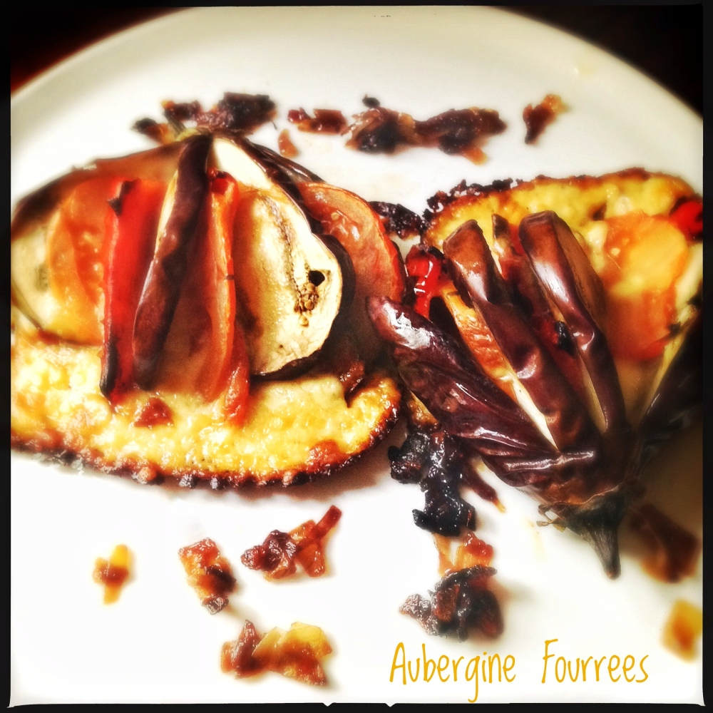 Aubergines Fourrées | Baked Fanned Eggplant with Cheese and Tomatoes