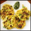 Pudla with Green Coriander and Mung Sprouts. Chickpea Flour Fritters for Brunch on 25th November, 2013.