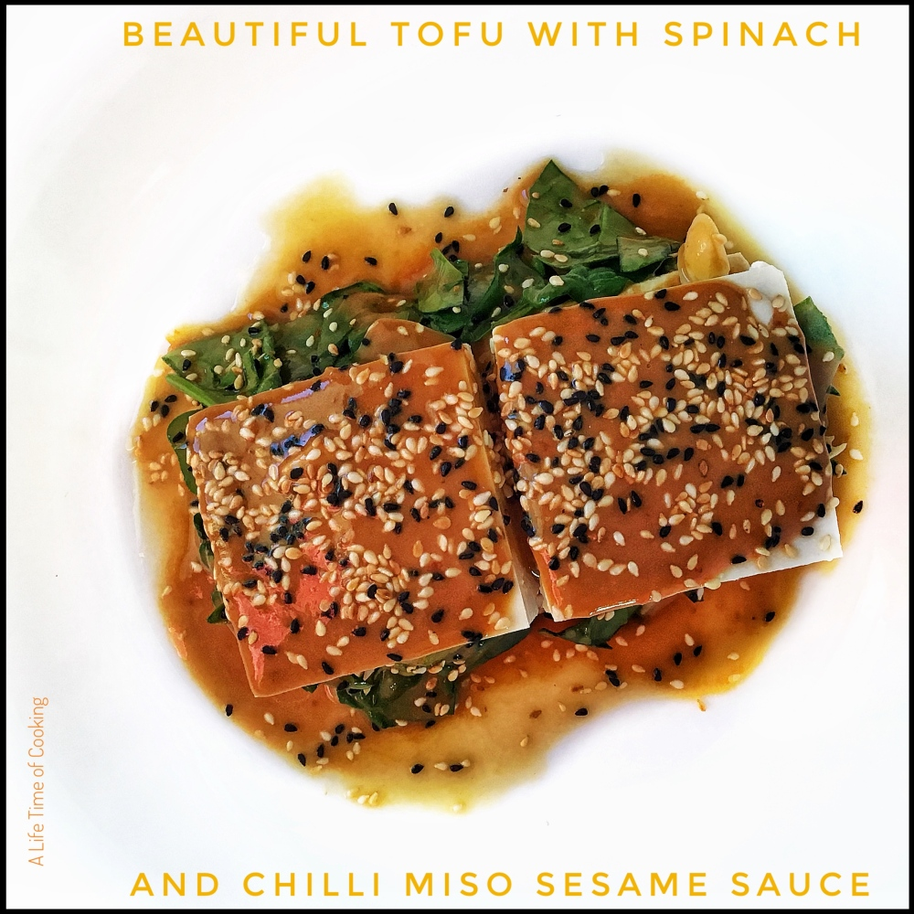 Tofu and Spinach Layers with Chilli Miso and Sesame Sauce
