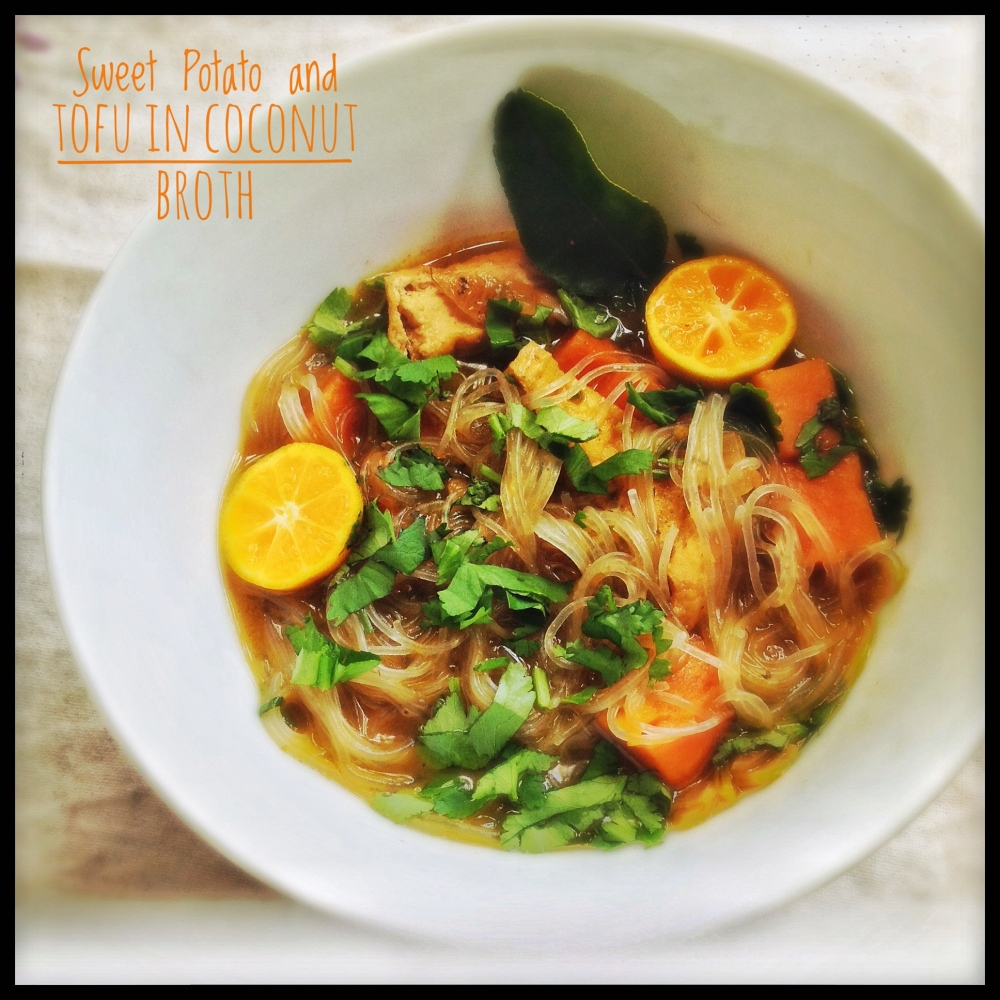 Sweet Potatoes and Deep Fried Tofu in Coconut Broth with Noodles