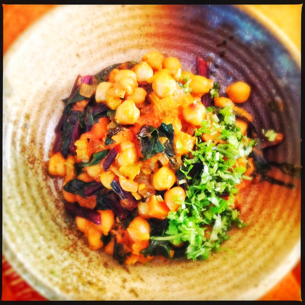 Chickpeas and Chilli with Beetroot Leaves