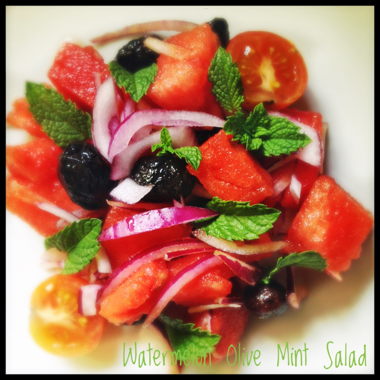 Watermelon Salad with Mint and Olives