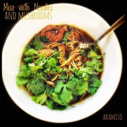 Miso Soup with Noodles and Mushrooms