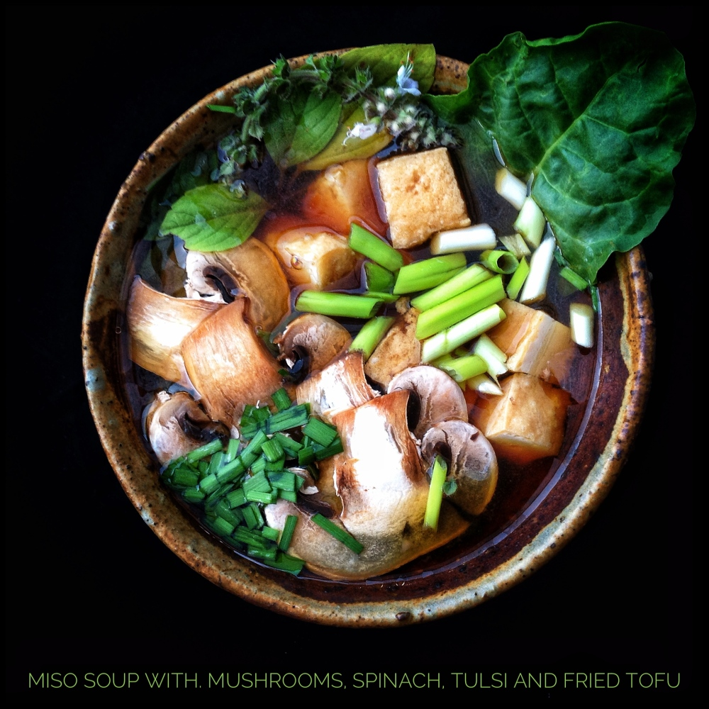 Miso Soup with Mushrooms, Fried Tofu, Tulsi and Spinach