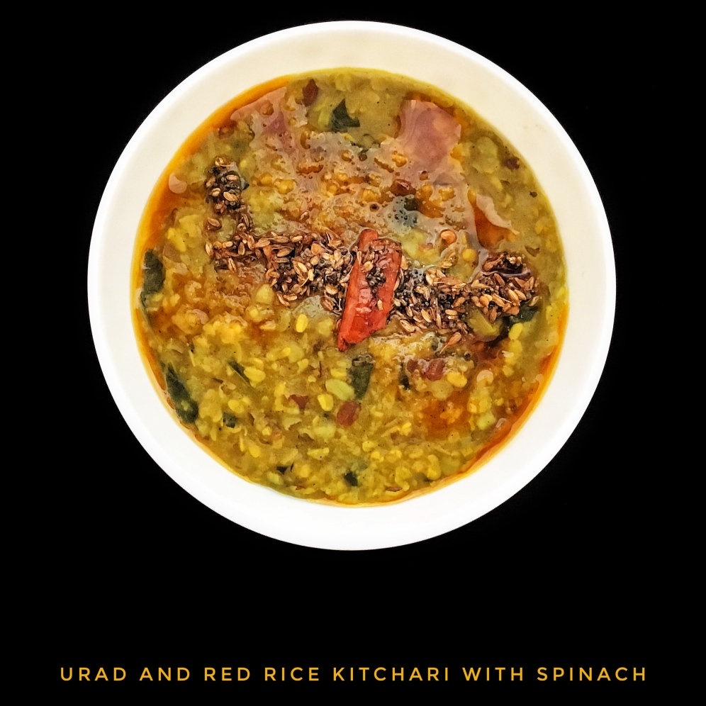 Super Healthy Urad and Red Rice Kitchari with Spinach